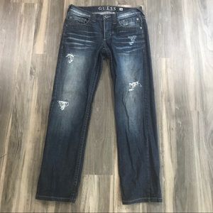 Guess Dark Wash Distressed Jeans